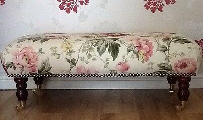 A Quality Long Footstool / Stool In Laura Ashley Peony Cranberry Fabric