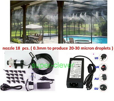 High Pressure Fog Misting Cool 20m DIY Tubing Humidification 0.3mm nozzle Timer