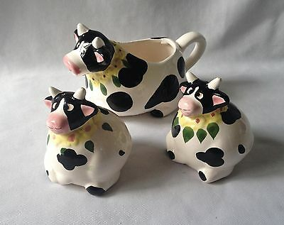 Vintage C1960's Cows Salt And Pepper Shakers With Matching Cow Milk Jug