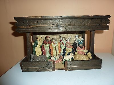 Vintage 11 Pottery Hand/p Nativity Scene Figure Group In A Wooden Stable Setting