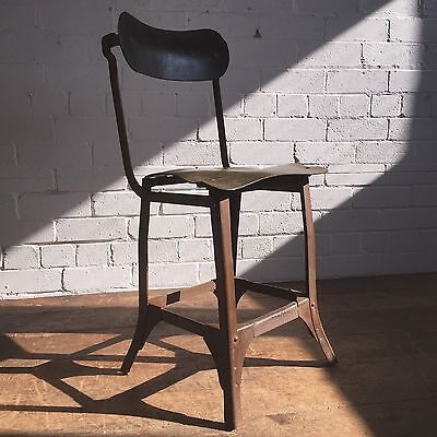 Vintage Industrial Factory Workers Chair - Desk Or Bar Stool