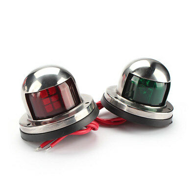 Red Green Stainless Steel Bow Pair Navigation Lights for Boats 1 Mile Pilot LED