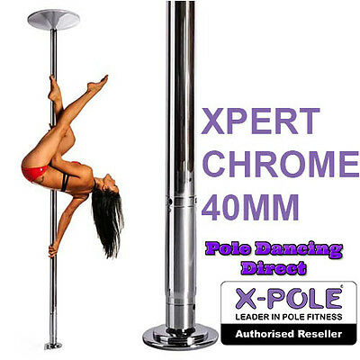 X-Pole Xpert Chrome 40mm Professional Static & Spinning Pole With Cleaning Cloth