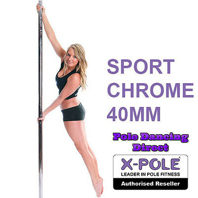 X-Pole Sport Chrome 40mm Professional Static Dancing Pole With Cleaning Cloth