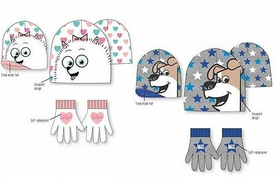 The Secret Life of Pets Hat and Gloves Set, Max or Gidget Design 3 - 7 Years