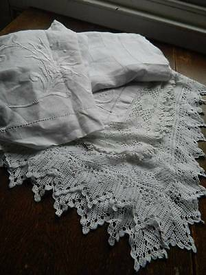 Bundle of 4 vintage white table cloths - linen with lace and or embroidery.