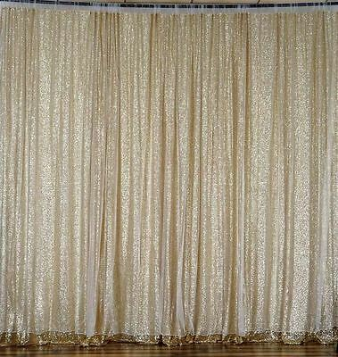 CHAMPAGNE SEQUINS BACKDROP 20 10 ft Stage Wedding Catering Booth Decorations