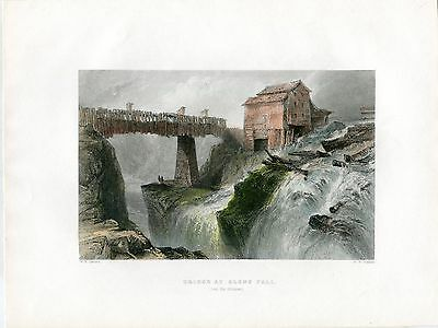 EEUU Bridge at Glens Fall (on the Hudson) grab. Por F.W.Topham.