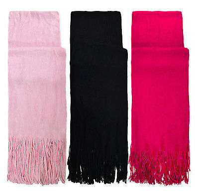 Ladies Winter Scarf New Womens Soft Tassel Pink Black Warm Pashmina Scarves O/S