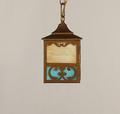 Antique Mission Brass Lantern w/ Caramel & Blue Slag Glass (American circa 1910)