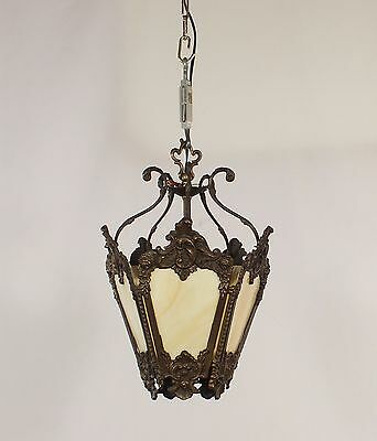 Antique Bronze Lantern with Caramel Slag Glass (American circa 1910)