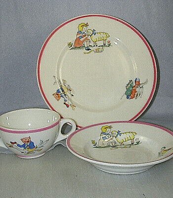RARE 1930s O.P. Co./Syracuse MARY HAD A LITTLE LAMB Child's Set Plate, Bowl, Cup