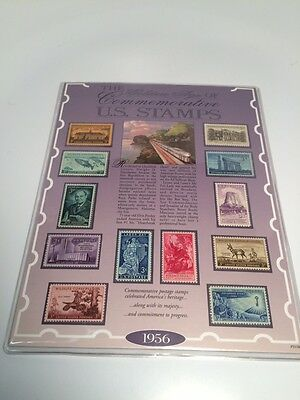 American Historical Society 1956 Commemorative US Stamps Mounted on Display