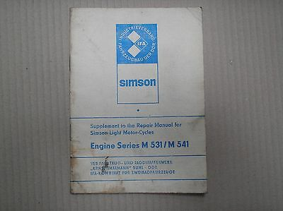 MZ simpson moped ?? engine series M531 M541 workshop manual SUPPLEMENT good USED
