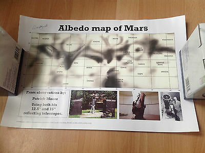 "Patrick Moore Hand signed Albedo Map Of Mars 12"" x 18"""