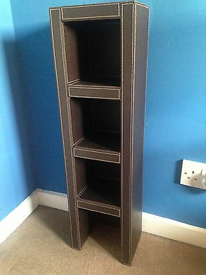 Faux Leather Brown Cd Storage Tower