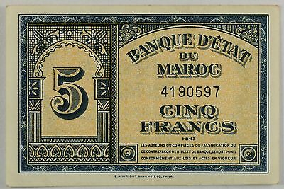 Morocco-French Administration,5 Francs Banknote,1943 Very Fine