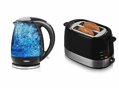 Tower Modern Kitchen Appliance Set - 1.7L Glass Kettle and Black 2 Slice Toaster