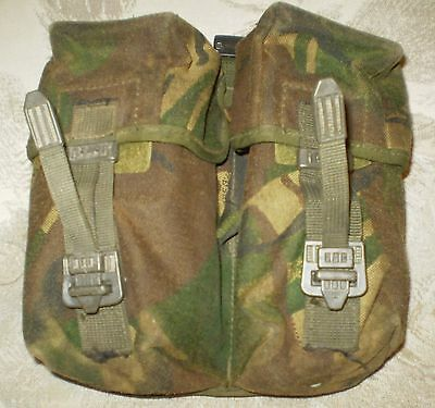 2 x British army surplus DPM camouflage double ammo / utility pouch