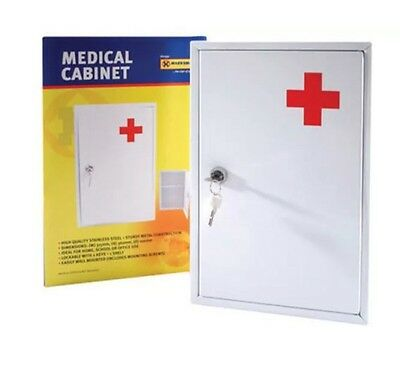 Wall Mount First Aid Medical Medicine Metal Steel Cabinet Box Lockable Case