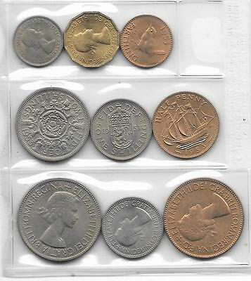 1953 Great Britain Uncirculated Coin Year Set Sealed in Plastic (9)