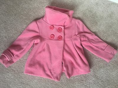 NEXT Pink Girls Coat Jacket Fleece Age 2 3 Funnel Button Style Pockets