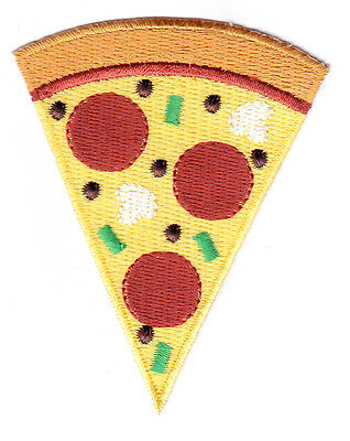 """Celebration Food /""""PIZZA NIGHT/"""" IRON ON EMBROIDERED PATCH Fast Food"""