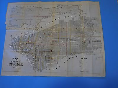 1854 Original Antique Large Map New York City & County, Valentines Manual
