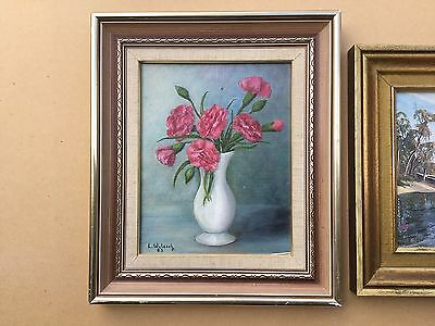 L.Woloschuk Winter Carnations  Framed Oil painting