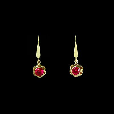 SALE Charming sparkling vivid yellow gold red crystal dangle earrings M-F