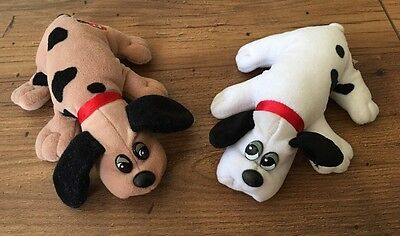 """Lot of 2 Vintage Pound Puppies - Plush toy - collectible - 7.5"""" Brown And White"""