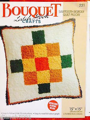 Sawtooth Border Pillow Latch Hook Pattern Full Colour Graph English & Spanish