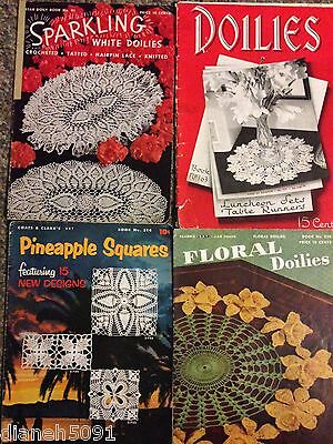 Lot Of 4 Vintage Doilies & Pineapple Squares Crochet Pattern Books 1940s-1950s