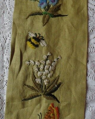 Vintage Mid Century Bell Pull Green Embroidery Flowers Butterflies Linen