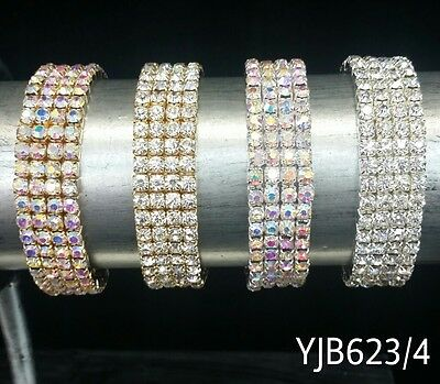 NEW YJB423 WEDDING PAGEANT Silver Gold 4 row Rhinestone Stretch Bangle Bracelet