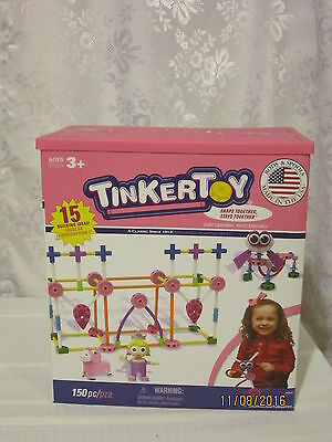 Tinkertoy Pink Building Set 15 Building Ideas 150 Colorful pcs Age 3+ - NEW