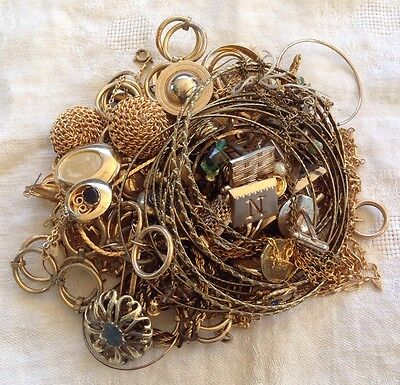 Gold Tone Jewelry 1 LB LOT: Necklaces, Earrings, Etc. Craft Repurpose #7