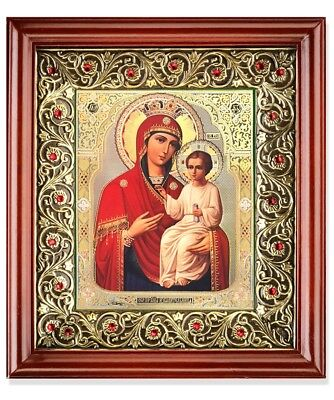 Crowned Madonna and Child Christ Icon in Wooden Frame Shrine With Glass 10 Inch