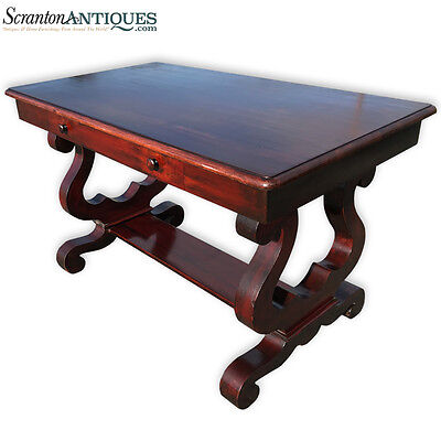 Antique American Empire Flame Mahogany Library Table Partners Desk
