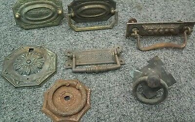 5 Antique Drawer Pulls & Medallions 2 Medallions Only