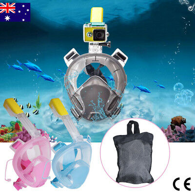 Full Face Snorkeling Snorkel Mask Diving Goggle With Breather Pipe For GoPro Set