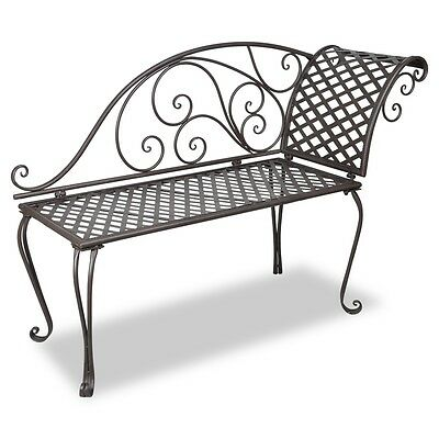 New Garden Metal Chaise Lounge Bench Steel Chair Outdoor Park Bed Seat Furniture