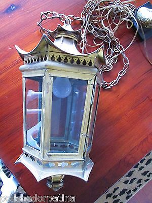 Hollywood Regency Brass Chinoiserie Pagoda Lantern Chandelier Tony Duquette Era