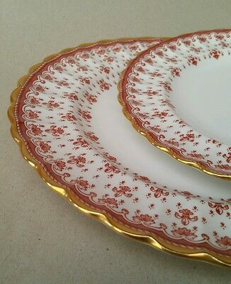 2x SPODE ENGLAND FLUER DE LYS PLATES WITH 24K GOLD EDGES NUMBERED SIGNED