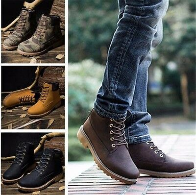 UK Homme Bottes Cuir Sneakers Chaussure Militaire Combat Hiver Chaud Bottines