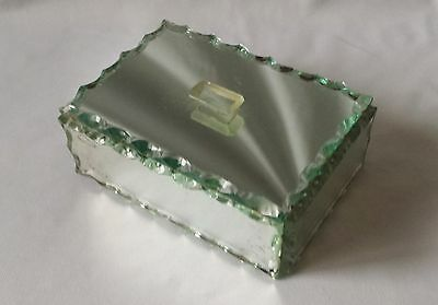 Vintage C1940's 1950's Scalloped Edge Glass Trinket Box - Dressing Table