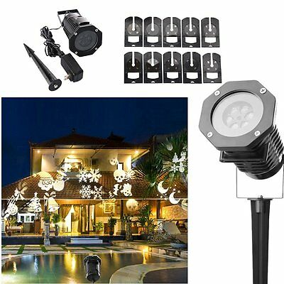 Led Lights Christmas Spotlight Landscape Projector with 10 Replaceable Slides #B