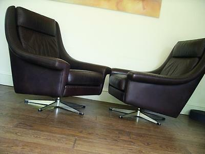 LEATHER RARE 60s RETRO DANISH DESIGN ERAN, 2 CHAIRS & OR SOFA VINTAGE, 70s