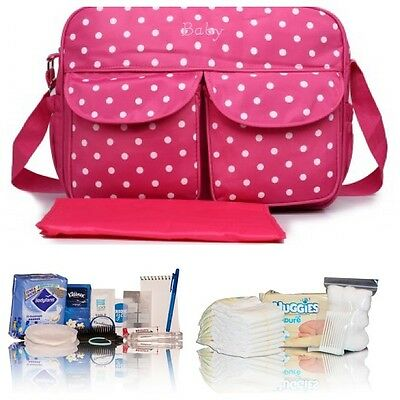 Budget pre-packed hospital/maternity/bag Mum & Baby-plum spot baby changing bag