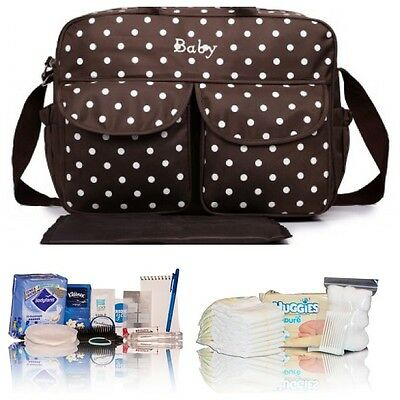 Budget pre-packed hospital/maternity/bag Mum & Baby-brown spot baby changing bag
